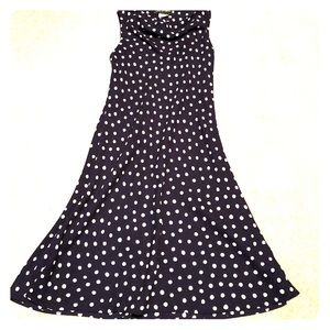 Navy blue white polkadot sleeveless dress size 10